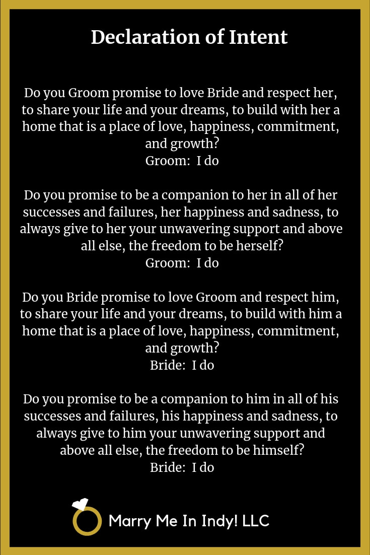 Declaration of Intent to Marry   WEDDING CEREMONY PRO INDIANA