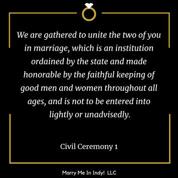 Civil Wedding Ceremony Script 1, Wedding Ceremony Pro.  Marry Me In Indy! LLC