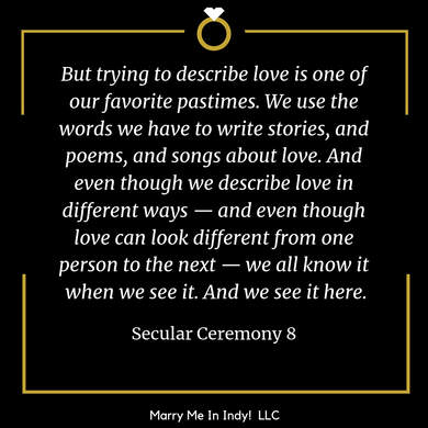 Secular, Non-Religious Wedding Ceremony Script 8 With PDF, Marry Me In Indy! LLC  Wedding Ceremony Pro